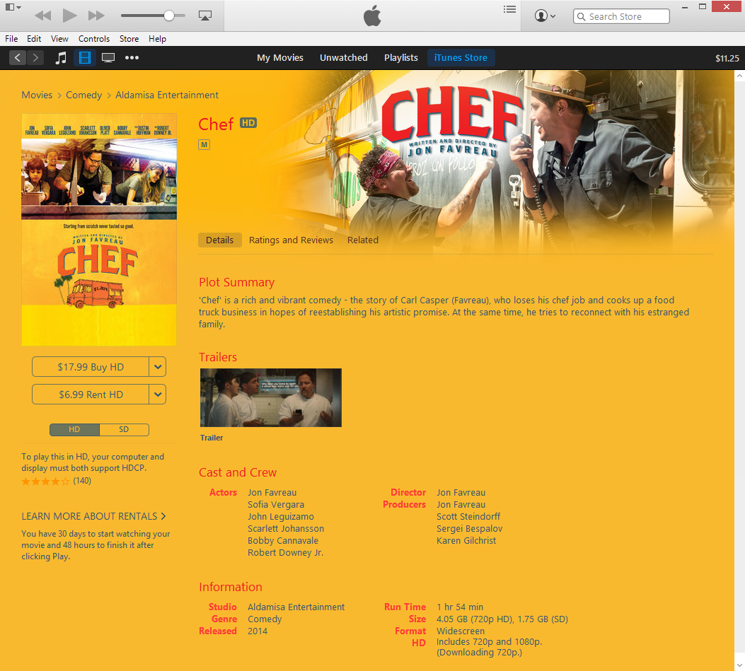Chef movie on iTunes