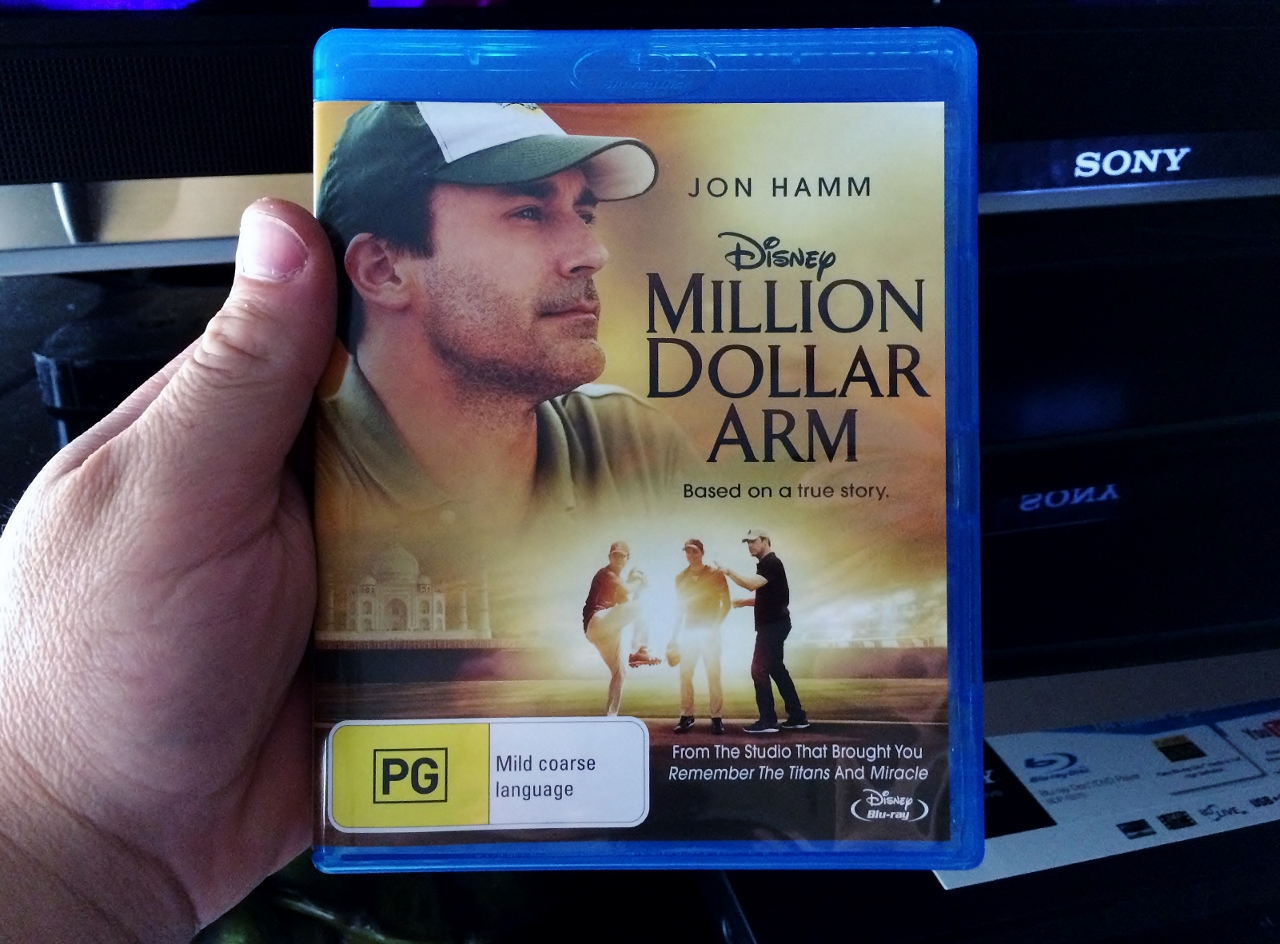 Our family movie night was Million Dollar Arm on blu-ray