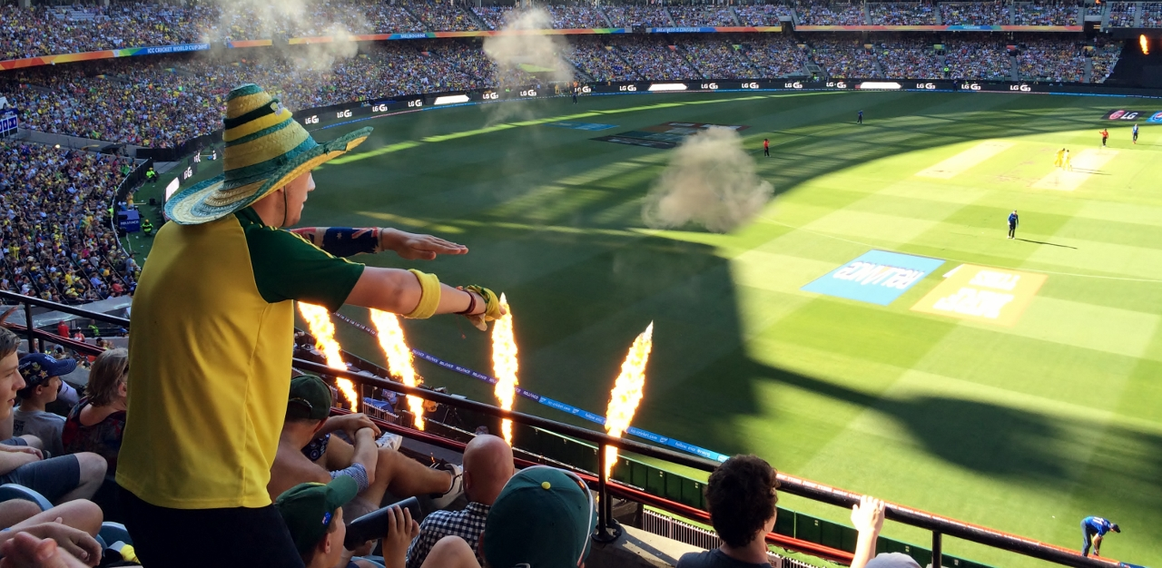Aussie supporters and flame throwers at the MCG during the ICC Cricket World Cup