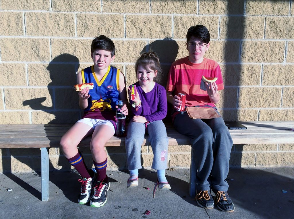 Brad, Karla and Josh Yeo at Narre Warren South after junior footy
