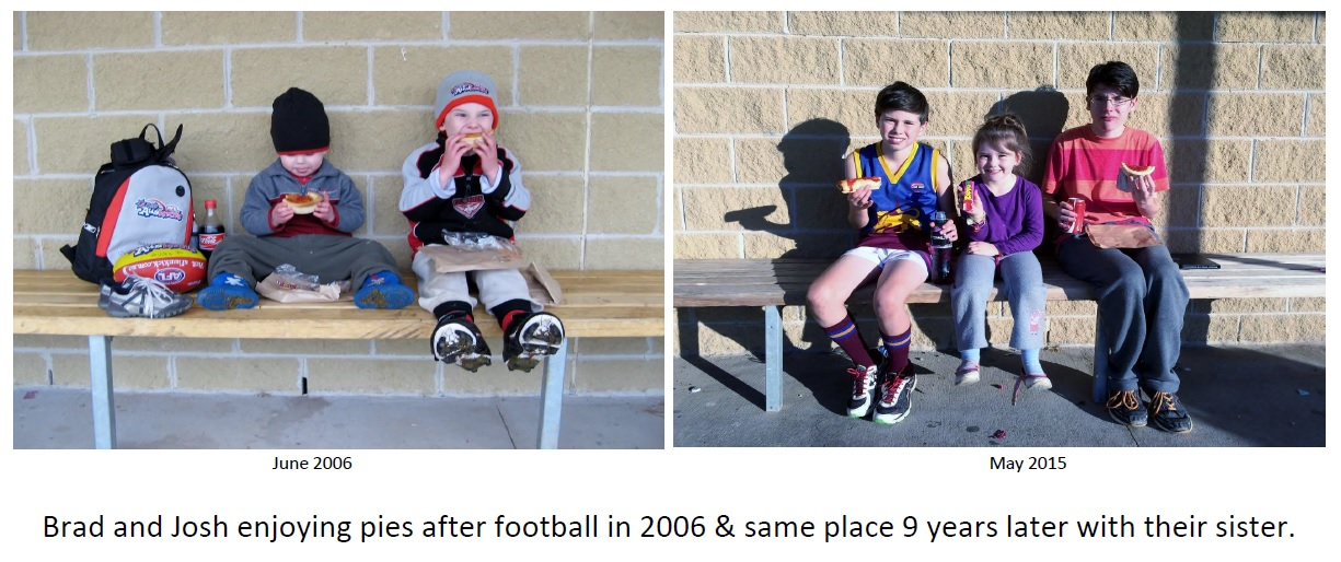 2009 to 2015, The same boys on the same seat, 9 years apart enjoying an Aussie snack. Their little sister joins them in the later shot.