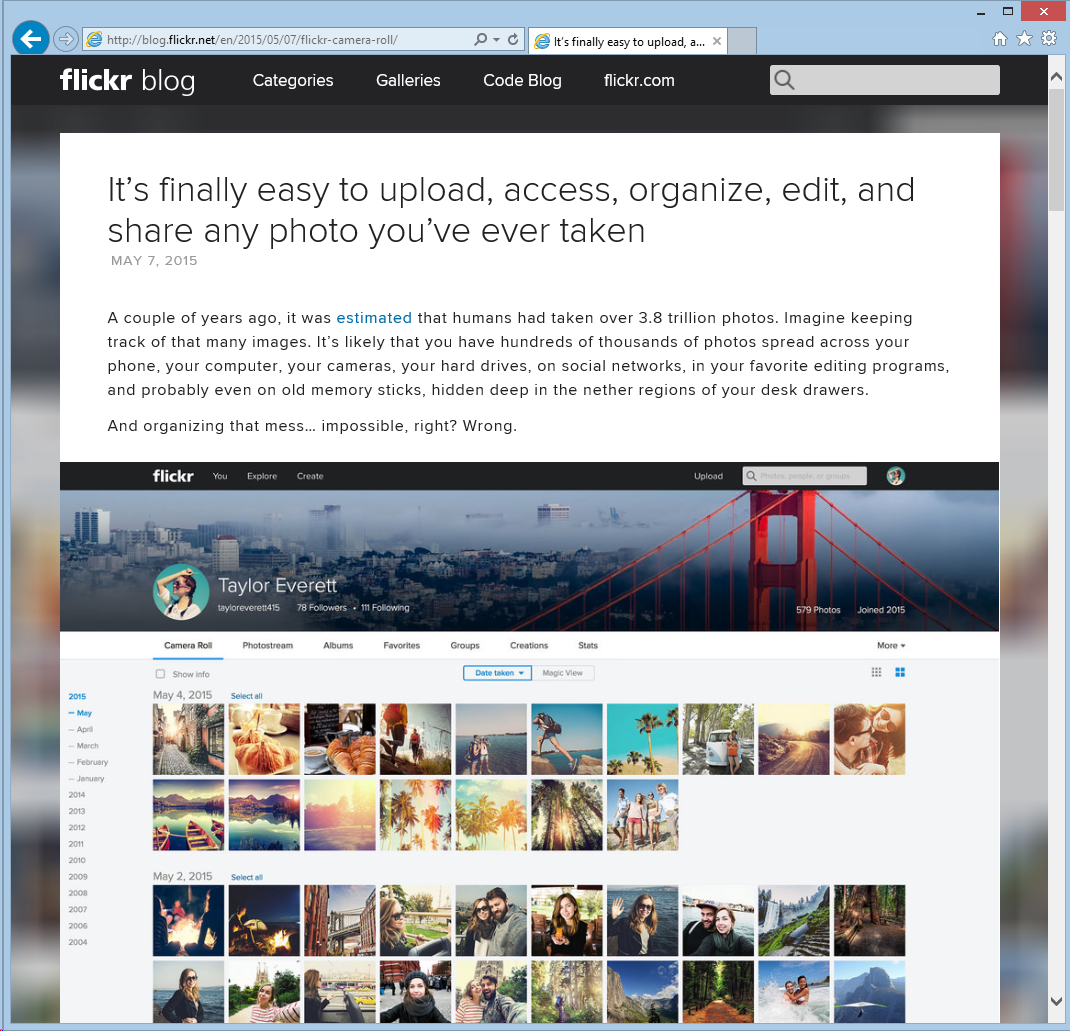 screenshot of Flickr Blog announcing changes