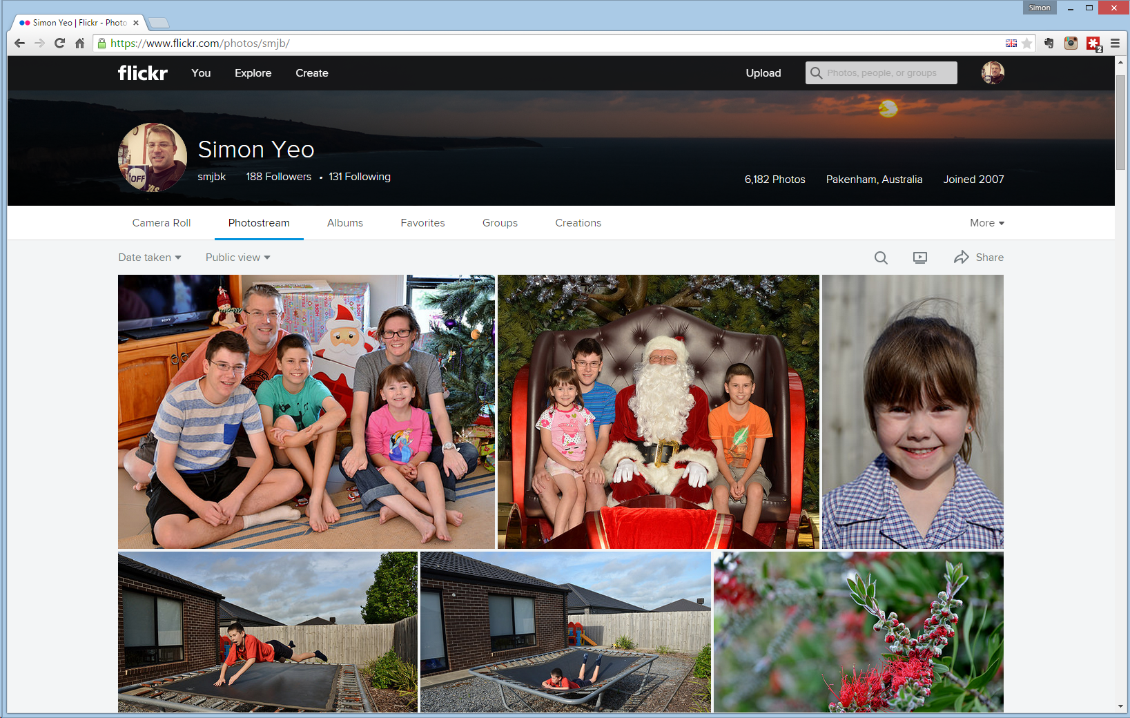 Screenshot of my Flickr photostream page