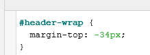 CSS code added by the SiteOrigin plugin to remove the gap at the top of screen.