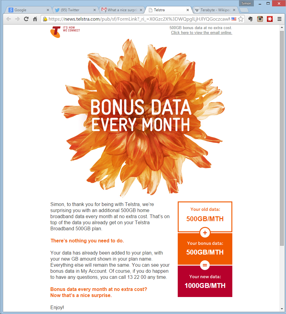 Telstra bonus data