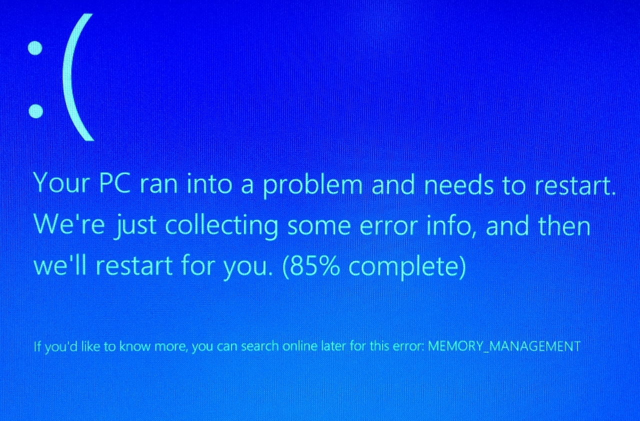 Windows blue screen sad face