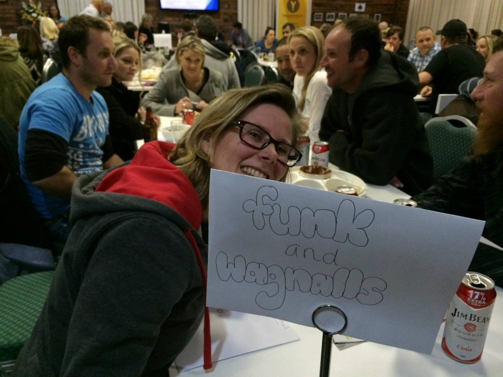 "Mandy on the ""Funk and Wagnalls"" table for the Pakenham Junior Football Club Trivia Night"