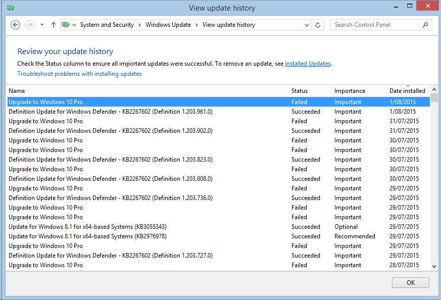 screenshot Windows 10 upgrade fails