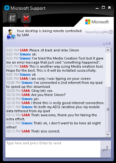 Microsoft support chat during remote connection