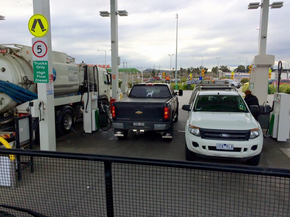 Diesel powered cars fueling at the truck bowsers.