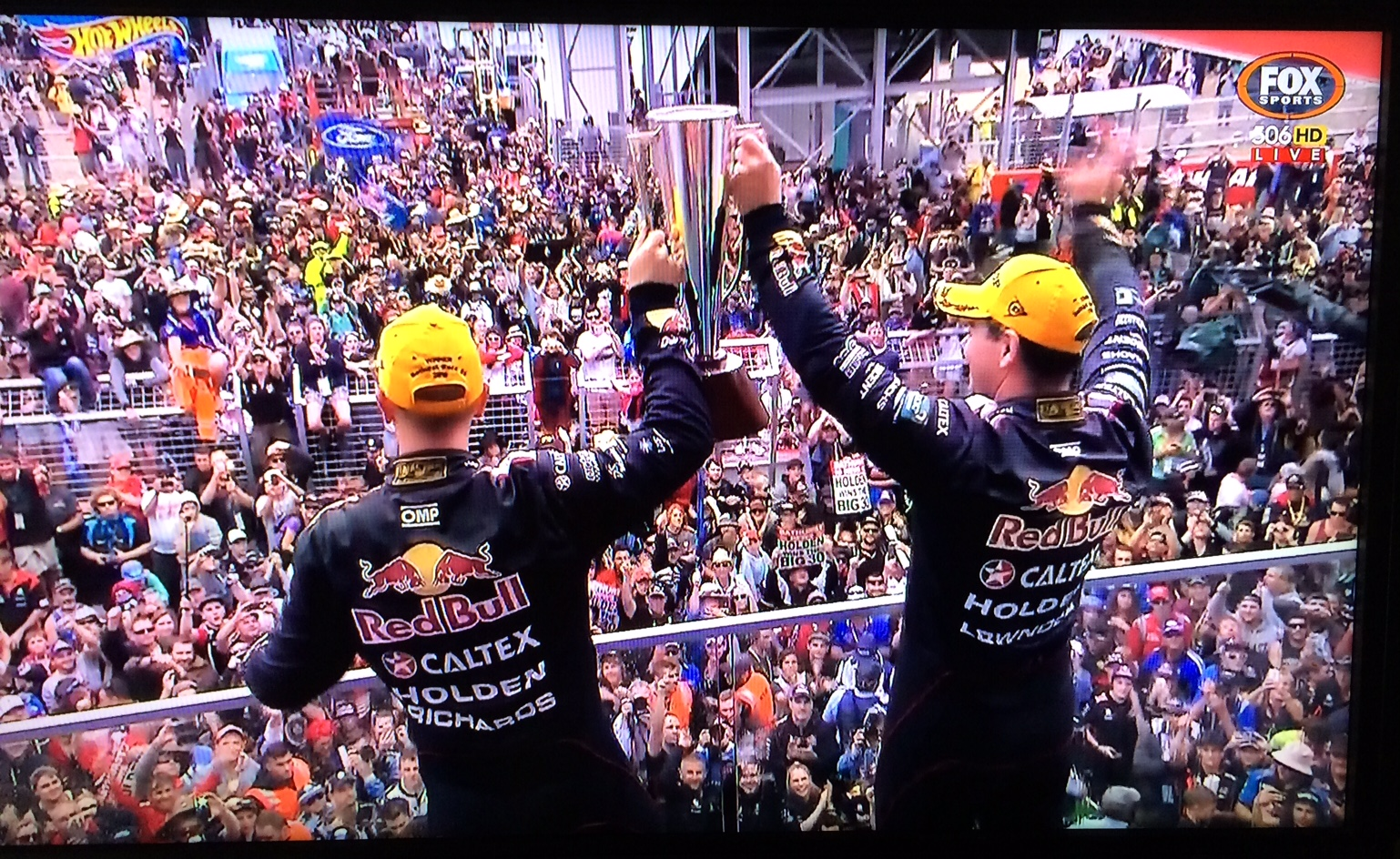 Craig Lowndes and Steven Richards hold the Peter Brock Trophy at Bathurst 2015
