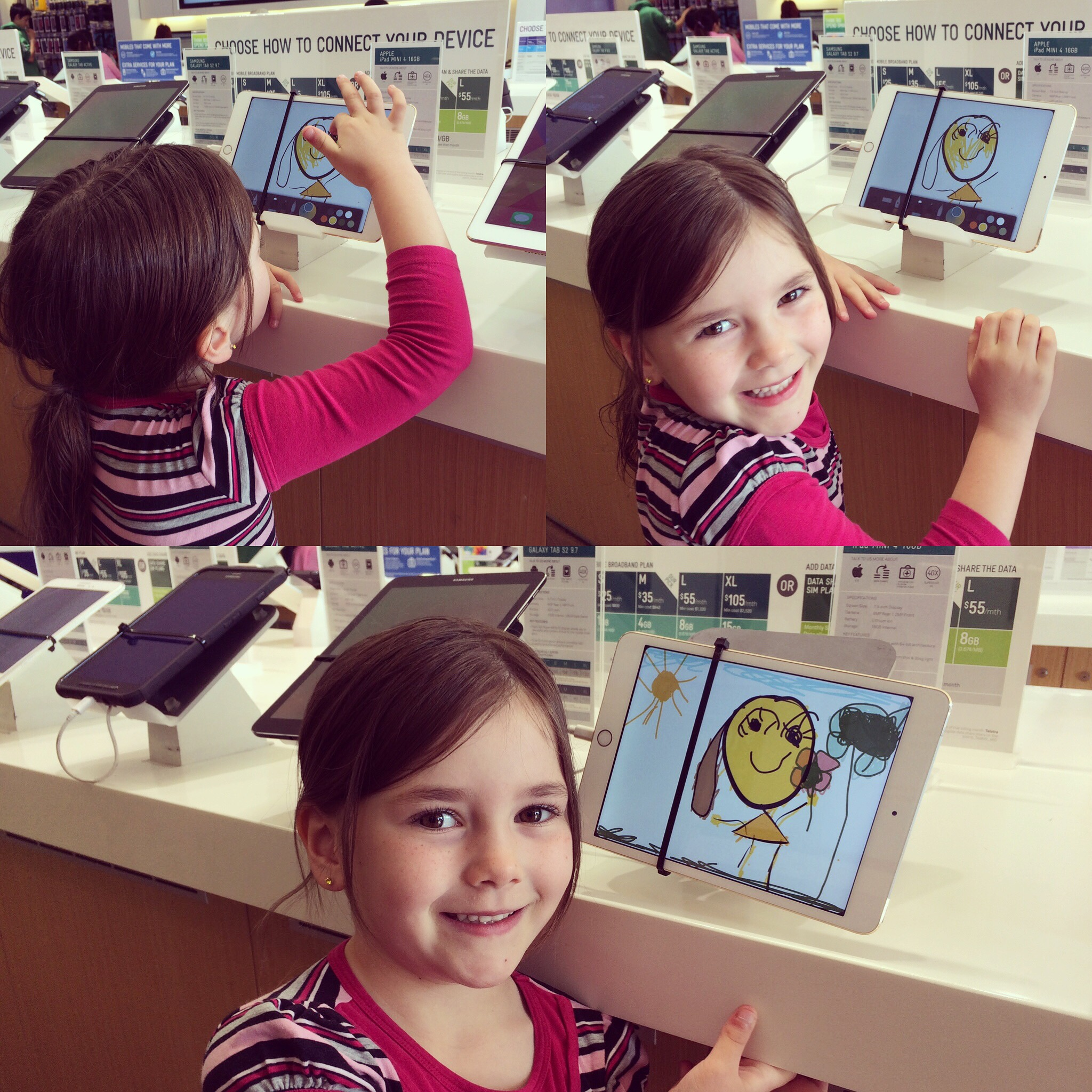 Karla drawing with a demo iPad in the Telstra store.