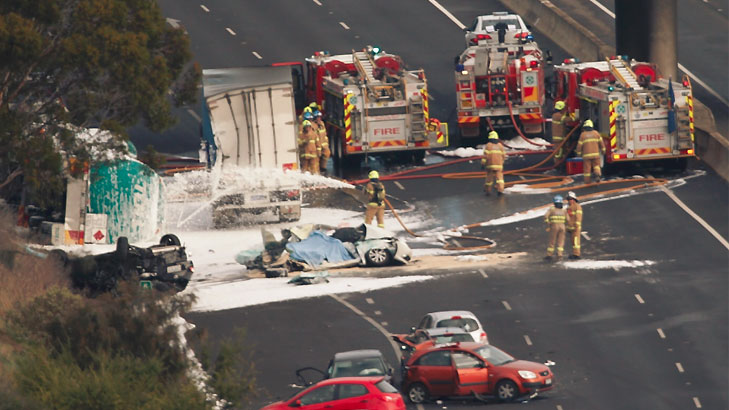 Calder Hwy tanker rollover (Pic The AGE)