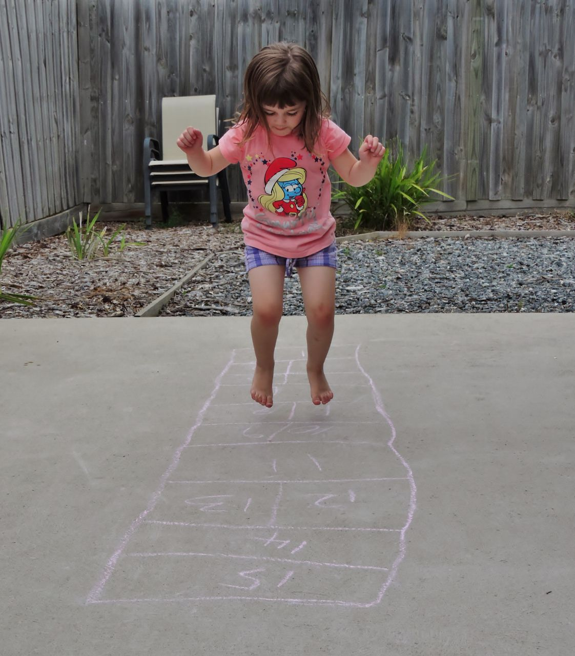 Karla playing hopscotch