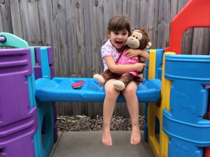 "Karla gets hugs from her monkey ""Isabella"""