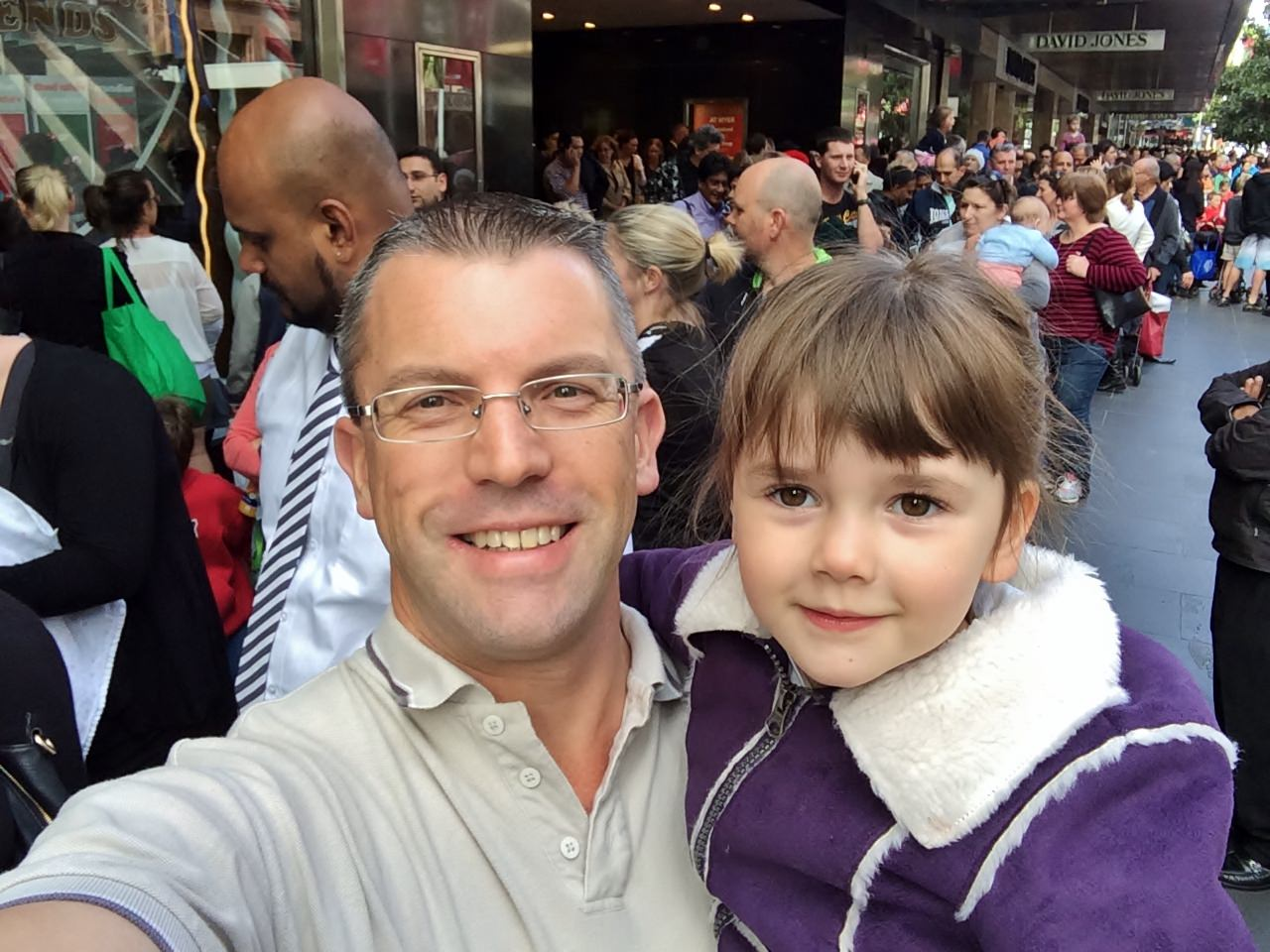 A selfie with my daughter Karla, outside the Myer Christmas Windows.