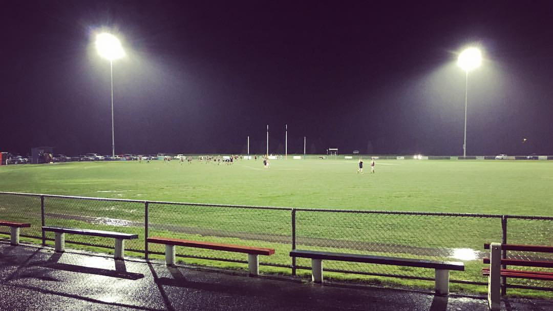 Junior football at Koo Wee Rup on a cold and wet Friday night.