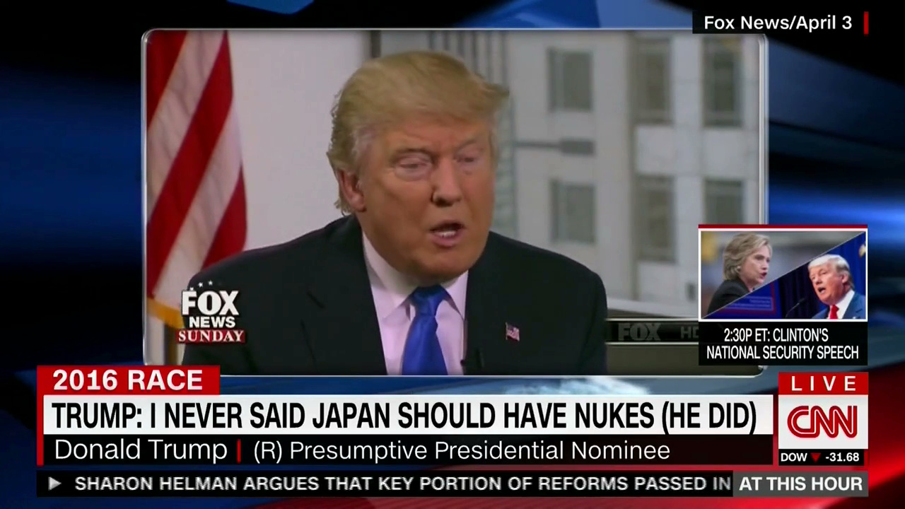 CNN screenshot, graphic says Trump telling a lie.