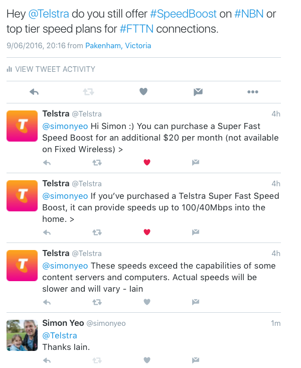 Twitter screenshot Telstra NBN speeds