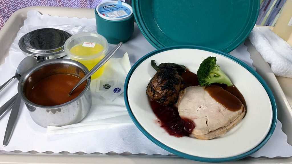 Hospital Meal - Soup, meat with vegies, followed by jelly and ice-cream.