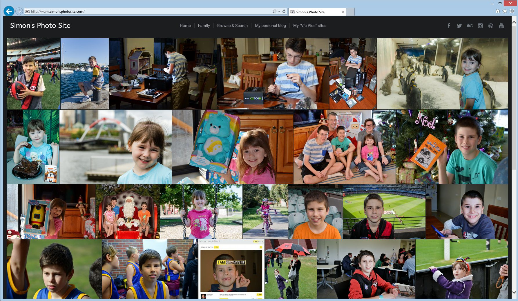 Simon's Photo Site homepage screenshot