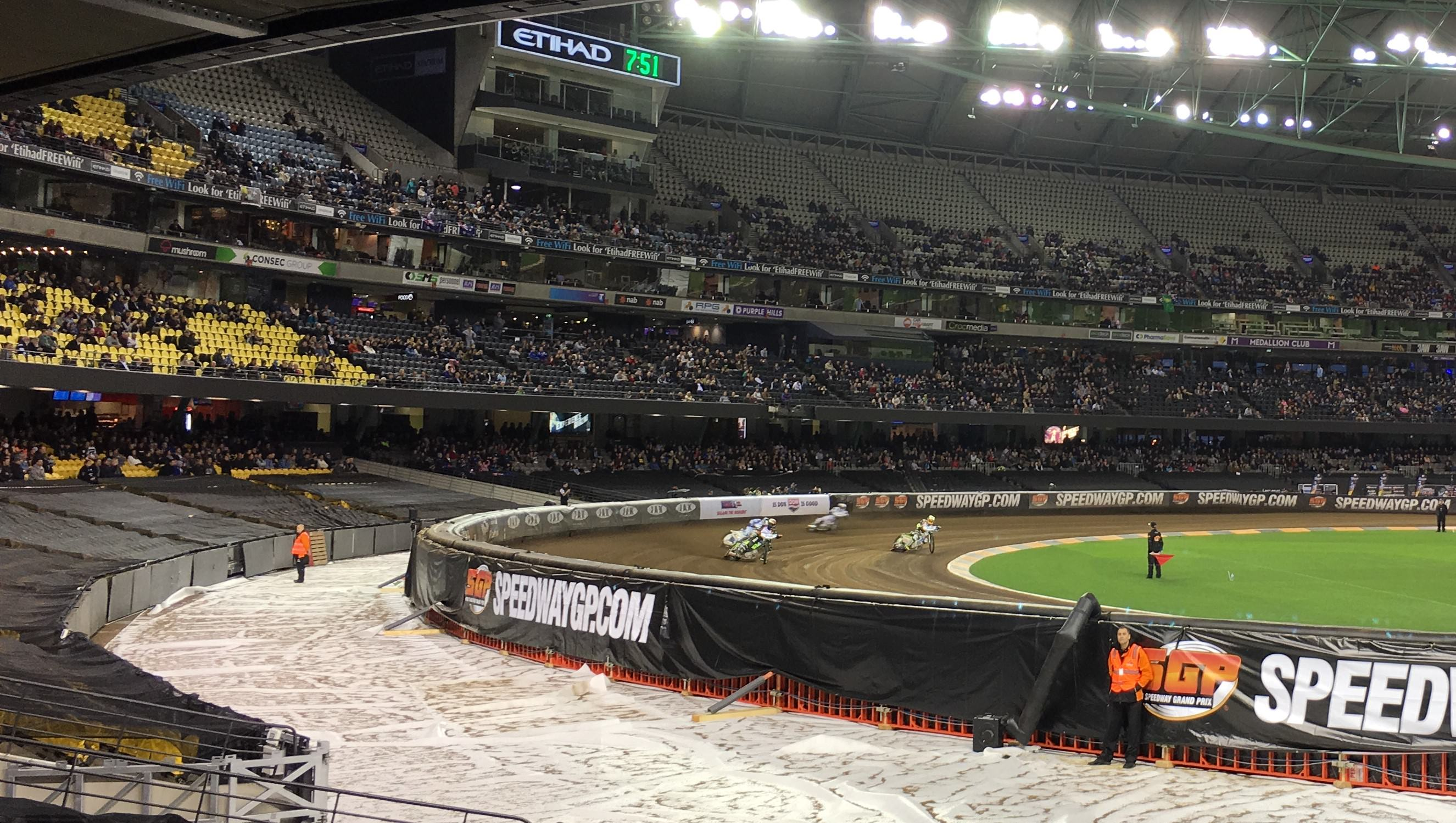 Speedway GP bikes at Etihad Stadium Melbourne