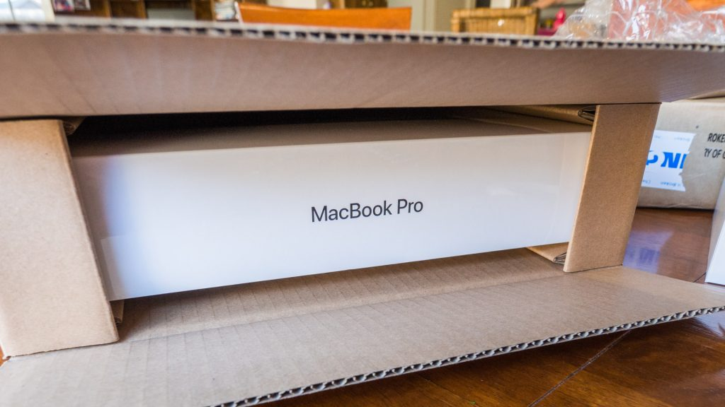 Macbook Pro box in the shipping box.