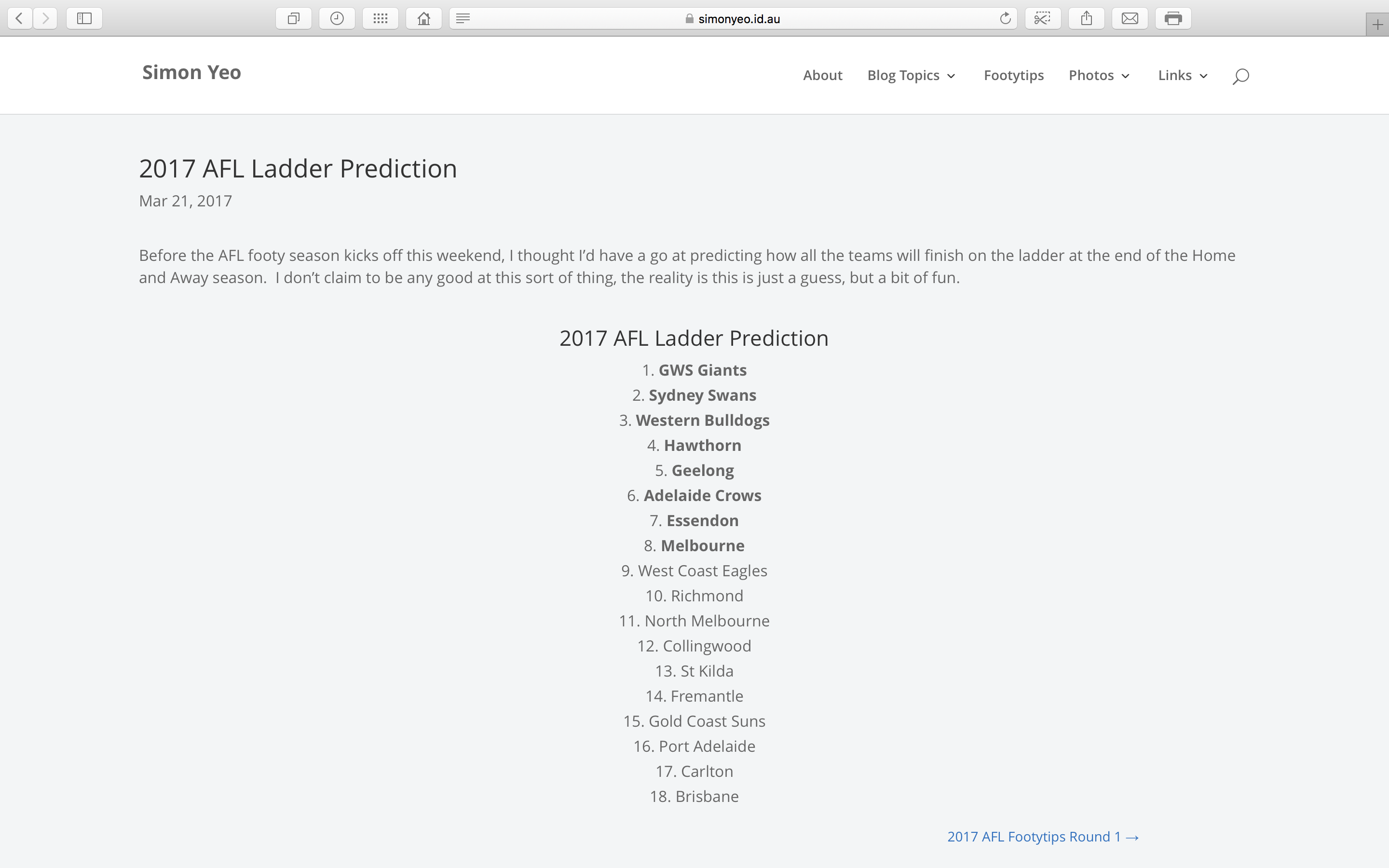 my 2017 ladder prediction