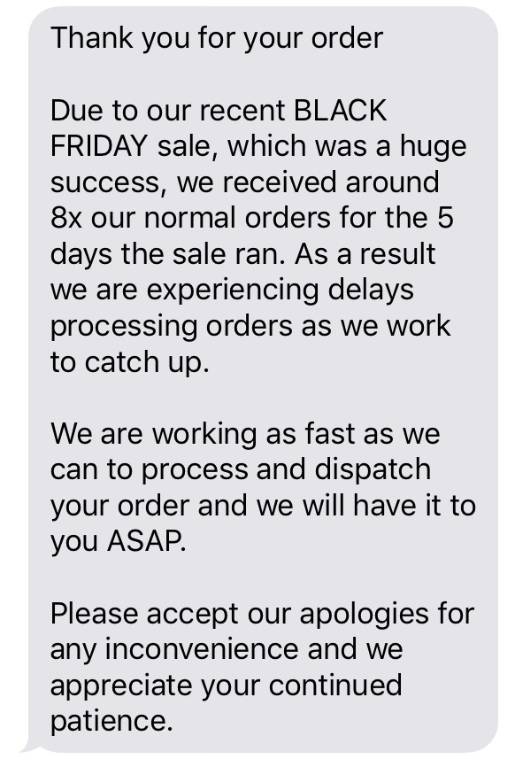 Teds Cameras text message one week after Black Friday